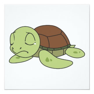 """Crying Cute Baby Turtle Tortoise Invitation Stamps 5.25"""" Square Invitation Card"""