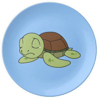 Crying Cute Baby Turtle Tortoise Plate Napkin Porcelain Plates