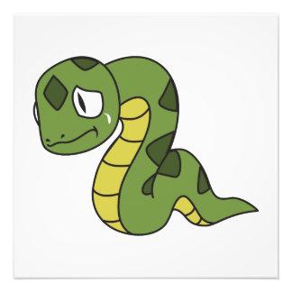 Crying Cute Green Snake Greeting Cards Mugs Pin Art Photo