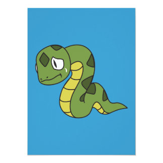 """Crying Cute Green Snake Invitation Card Stamps 5.5"""" X 7.5"""" Invitation Card"""