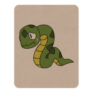 """Crying Cute Green Snake Invitation Card Stamps 4.25"""" X 5.5"""" Invitation Card"""