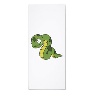 """Crying Cute Green Snake Invitation Card Stamps 4"""" X 9.25"""" Invitation Card"""