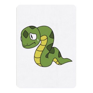 """Crying Cute Green Snake Invitation Card Stamps 5"""" X 7"""" Invitation Card"""
