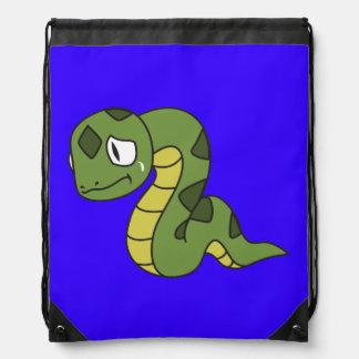 Crying Cute Green Snake Mug Pillow Button Pin Drawstring Bag