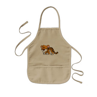 Crying Cute Orange Baby Tiger Cub Apron Napkin