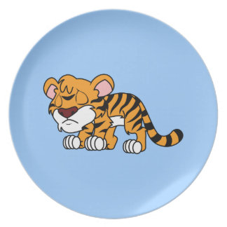 Crying Cute Orange Baby Tiger Cub Apron Napkin Dinner Plate