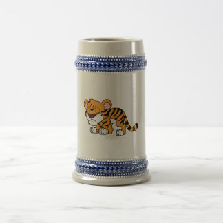 Crying Cute Orange Baby Tiger Cub Greeting Cards Beer Stein