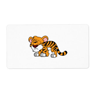 Crying Cute Orange Baby Tiger Cub Greeting Cards Label