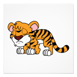 Crying Cute Orange Baby Tiger Cub Greeting Cards Photograph