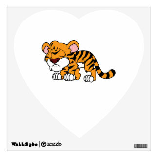 Crying Cute Orange Baby Tiger Cub Greeting Cards Wall Sticker