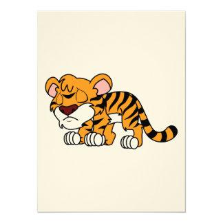 """Crying Cute Orange Baby Tiger Cub 5.5"""" X 7.5"""" Invitation Card"""