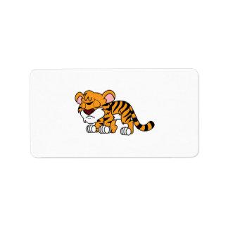 Crying Cute Orange Baby Tiger Cub Mug Pillow Label