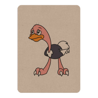 """Crying Cute Ostrich Bird Invitation Card Stamps 5"""" X 7"""" Invitation Card"""