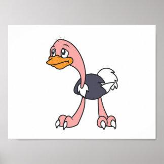 Crying Cute Ostrich Bird Mug Greeting Cards Poster