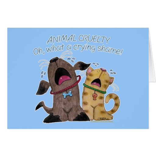 Crying dog and cat crying shame card