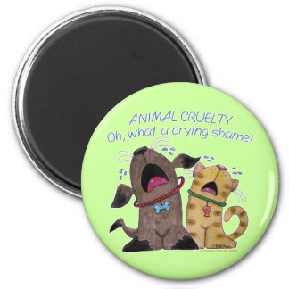 Crying dog and cat crying shame magnet