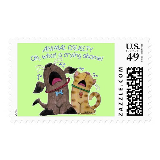 Crying dog and cat crying shame postage