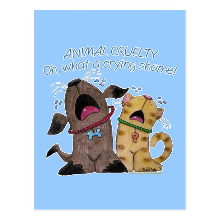 Crying dog and cat crying shame postcard