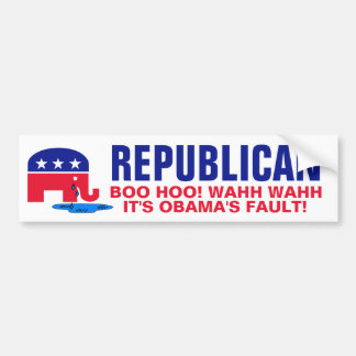Crying Elephant - Boo Hoo It's Obama's Fault! Bumper Sticker