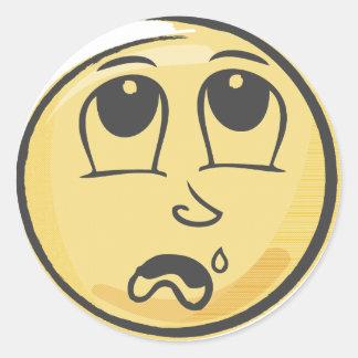 Crying Emoji Classic Round Sticker
