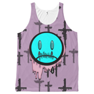 Crying Emoticon Pastel Goth Girl  Top All-Over Print Tank Top