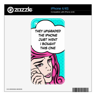 Crying girl pop art decal for iPhone 4