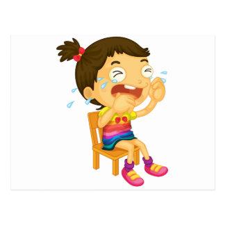 Crying girl postcard
