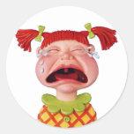 Crying GirlW Classic Round Sticker