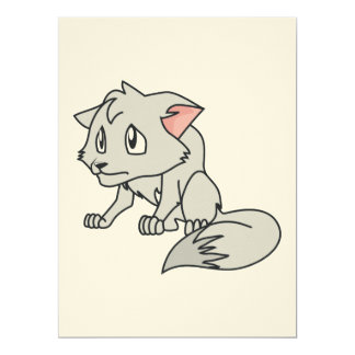 "Crying Gray Young Wolf Pup Invitation Stamps 6.5"" X 8.75"" Invitation Card"