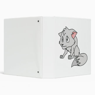 Crying Gray Young Wolf Pup Magnet Button Pillow 3 Ring Binders
