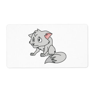Crying Gray Young Wolf Pup Magnet Button Pillow Label