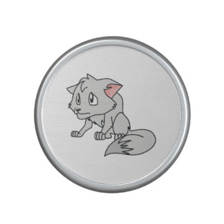 Crying Gray Young Wolf Pup Magnet Button Pillow Bluetooth Speaker