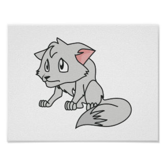 Crying Gray Young Wolf Pup Magnet Button Pillow Poster