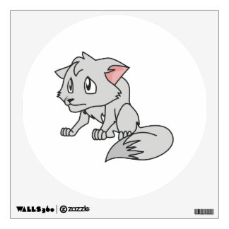 Crying Gray Young Wolf Pup Magnet Button Pillow Wall Sticker