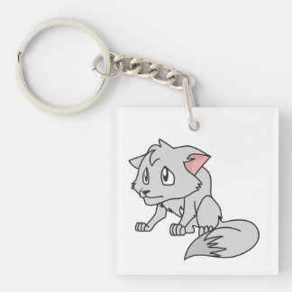 Crying Gray Young Wolf Pup Mug Bag Button Pin Keychain
