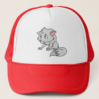 Crying Gray Young Wolf Pup Mug Bag Button Pin Trucker Hat