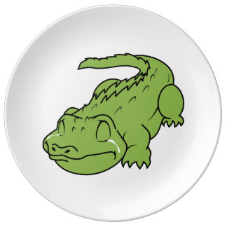 Crying Green Crocodile Tears Apron Plates Porcelain Plate
