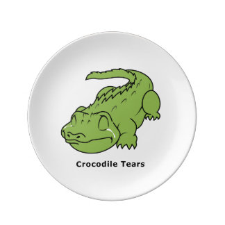 Crying Green Crocodile Tears Apron Plates Porcelain Plates