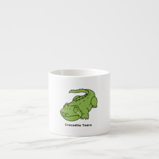 Crying Green Crocodile Tears Card Magnet Pin Espresso Cup