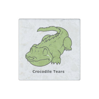 Crying Green Crocodile Tears Card Magnet Pin Stone Magnet