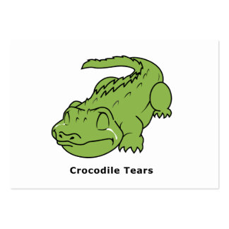 Crying Green Crocodile Tears Card Stamps Label Large Business Cards (Pack Of 100)