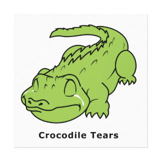 Crying Green Crocodile Tears Card Stamps Label Stretched Canvas Print