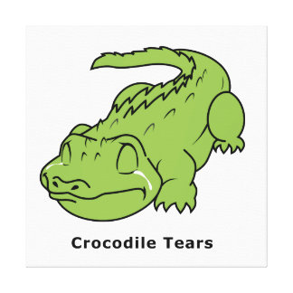 Crying Green Crocodile Tears Card Stamps Label Stretched Canvas Prints