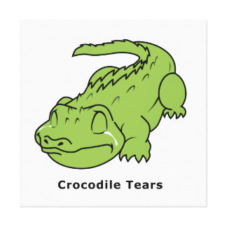Crying Green Crocodile Tears Card Stamps Label Canvas Prints