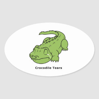 Crying Green Crocodile Tears Card Stamps Label Oval Sticker