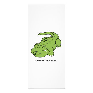 Crying Green Crocodile Tears Card Stamps Label Full Color Rack Card