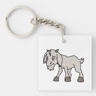 Crying Grey Young Goat Kid Animal Rights Day Keychain