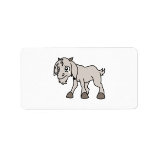 Crying Grey Young Goat Kid Animal Rights Day Label