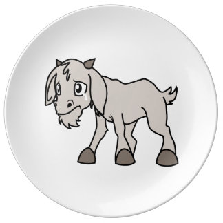 Crying Grey Young Goat Kid Animal Rights Day Porcelain Plates