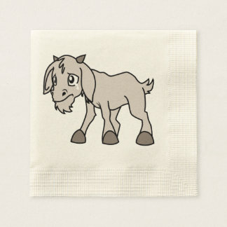 Crying Grey Young Goat Kid Animal Rights Day Paper Napkin